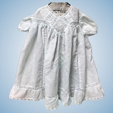 Pale Aqua Large Antique Doll Baby Dress w/ Lace