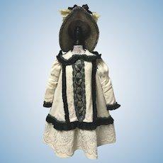 Paris Label Wool Dress Bonnet Beading Large Doll Jumeau Bru