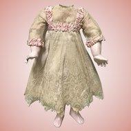 GORGEOUS Antique Lace Pink Silk Dress Jumeau Bru Dolls