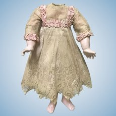 GORGEOUS Antique Lace Pink Silk Dress Jumeau Bru Dolls