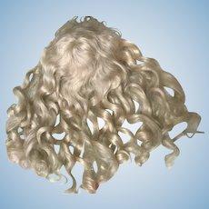 "Gorgeous Long Blonde Antique Wig 12"" Jumeau Bru Steiner Doll"