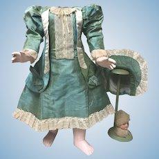 Stunning AUTHENTIC ANTIQUE Dress and Bonnet for Large Dolls Jumeau Bru