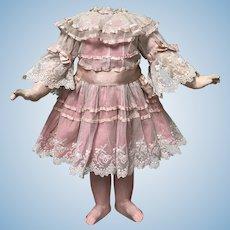 Beautiful Lace Over Pink Cotton Dress for Antique dolls Jumeau Bru