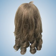 Vintage Brown Human Hair Wig for Large Doll