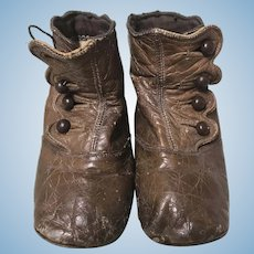 """Brown Leather Boots For Large Antique Doll 5"""" Long"""