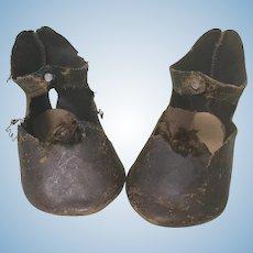 """Leather Jumeau  Shoes Stamped """"Bebe Jumeau Depose""""  TLC"""