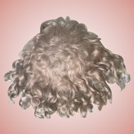 """Very Pretty Antique Strawberry Blonde Mohair Doll Wig 12-1/2"""" Circ."""