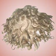 """Precious Antique Blonde Mohair Doll Wig 12"""" Circ."""