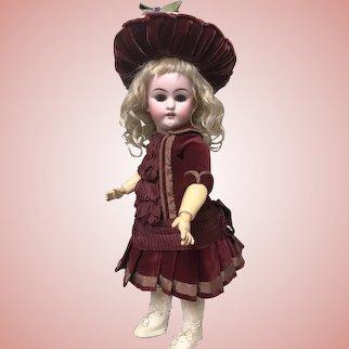 Sweet Burgundy Dress and Hat for Jumeau Bru Steiner Doll