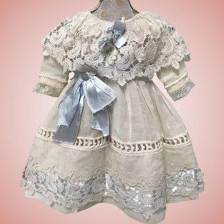 Nice Blue Trimmed Dress for Jumeau Bru Steiner Doll