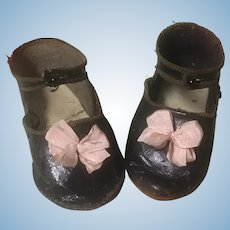 Leather Jumeau EJ Stamped Shoes large Doll Size 12