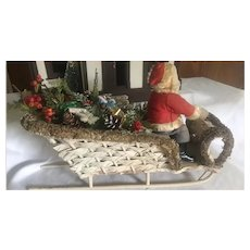 Large FAO Schwartz Santa Doll Wicker Loofa Sleigh Christmas Display Candy Container