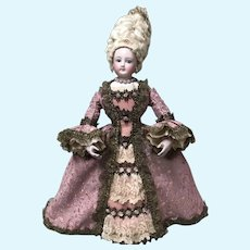 RARE Antique French FG Wood Body Fashion Doll as Marie Antoinette