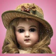 Sweet Antique Doll Straw Hat w/flowers