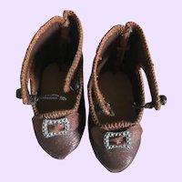 Wonderful Authentic Antique Bru Doll Shoes size 6