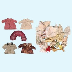 Lot Vintage Silk Doll Coats, Cape and Bonnets