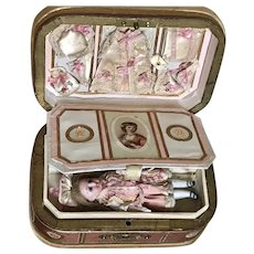Antique French Doll in a Presentation Box with Trousseau