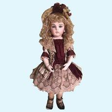 Beautiful  Artist Made Silk Antique Doll Dress & Bonnet Jumeau Bru Steiner