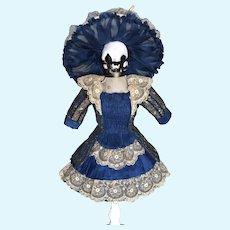Beautiful  Artist Made Silk Antique Doll Dress & Hat Jumeau Bru Steiner