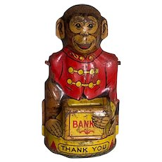 J Chein Vintage Monkey Tin Mechanical Bank part of my collection
