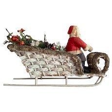 Germany Santa Doll Loofah Sleigh Christmas