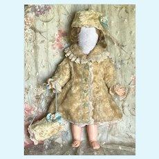 Beautiful  Artist Made Fur Coat, Hat and Muff Set Antique Doll Jumeau Bru Steiner