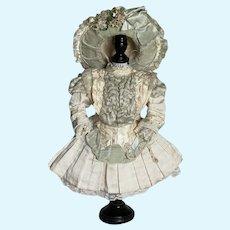 GORGEOUS  Antique Doll Dress & Bonnet Jumeau Bru by Annette When Dreams Come True