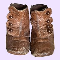 """5"""" Large Leather Antique Doll Shoes Boots"""