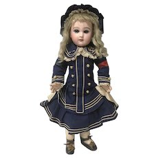 RARE Bebe Jumeau Red Arm Band Mariner Sailor Dress Bonnet