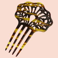 Vintage Faux Tortoiseshell and Rhinestone Hair Comb Ornament