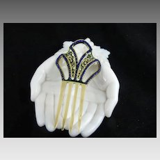 Art Deco Celluloid and Blue Rhinestone Hair Comb Ornament