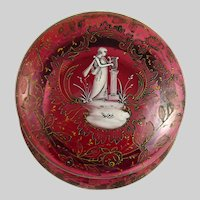 Antique Bohemian Cranberry Glass Enamel Decorated Vanity Box