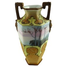 Antique Nippon Cabinet Vase Scenic Moriage Decor