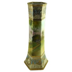 Antique Nippon Porcelain Vase Scenic