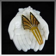 Art Deco Celluloid and Rhinestone Hair Comb Ornament