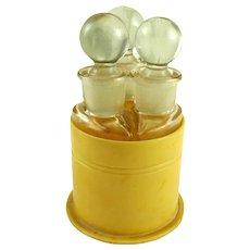 Vintage Art Deco Perfume Bottles in Celluloid Case