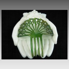 Art Deco Green Celluloid Hair Comb Ornament with Blue Rhinestones