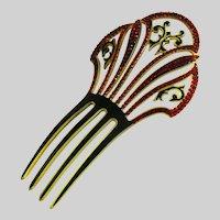 Vintage Rhinestone Celluloid Art Deco Hair Comb Ornament