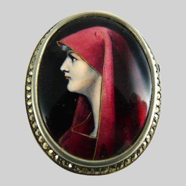 Limoges Enamel Portrait Brooch Saint Fabiola