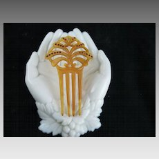 Vintage Art Deco Celluloid and Rhinestone Comb Small