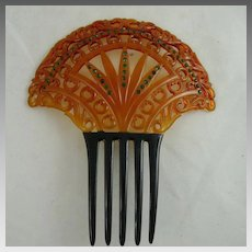 Art Deco Celluloid and Rhinestone Comb Orange and Black
