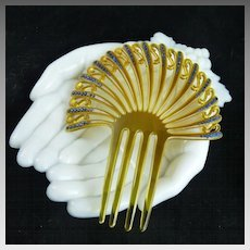 Art Deco Fan Shaped Celluloid Rhinestone Hair Comb