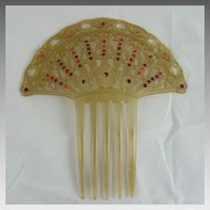 Vintage Celluloid and Rhinestone Hair Comb Flowers