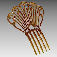 Art Deco Large Celluloid and Rhinestone Comb
