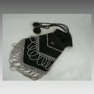 Edwardian Kid Leather Reticule Beaded Evening Bag