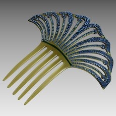 Vintage Art Deco Celluloid and Rhinestone Comb Fan Shaped