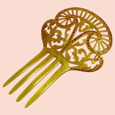 Vintage Art Deco Celluloid Rhinestone Hair Comb Yellow
