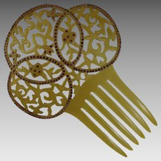 Vintage Art Deco Celluloid Rhinestone Hair Comb Mantilla