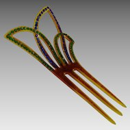 Vintage Art Deco Celluloid Rhinestone Hair Comb Ornament