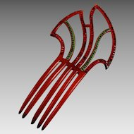 Vintage Celluloid and Rhinestone Hair Comb Ornament Art Deco